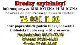 Biblioteka Publiczna powraca do poprzedniego numeru telefonu oraz poprzednich godzin!